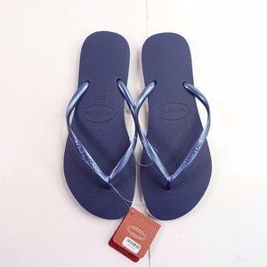 NEW Havaianas Slim Flip Flop Sandal 4000030 Navy